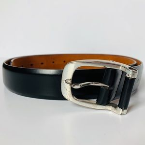 Cole Haan men's black belt silver buckle - size 40